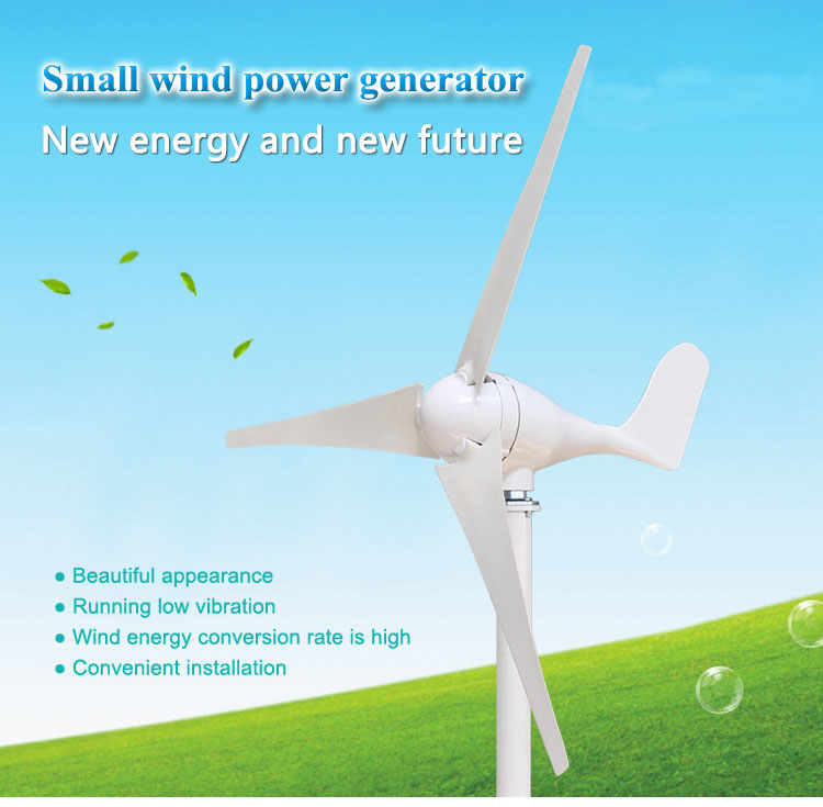 300 W/200 W/100 W 12 V 24 V éoliennes 400 W moulin à vent triphasé AC petite usage domestique trois lames couleur blanc/noir