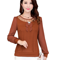2017 Autumn Solid Chiffon Blouse Women Tops Long Sleeve Women Ladies Blouses Fashion Blusas Gauze Patchwork Hollow Out Shirt