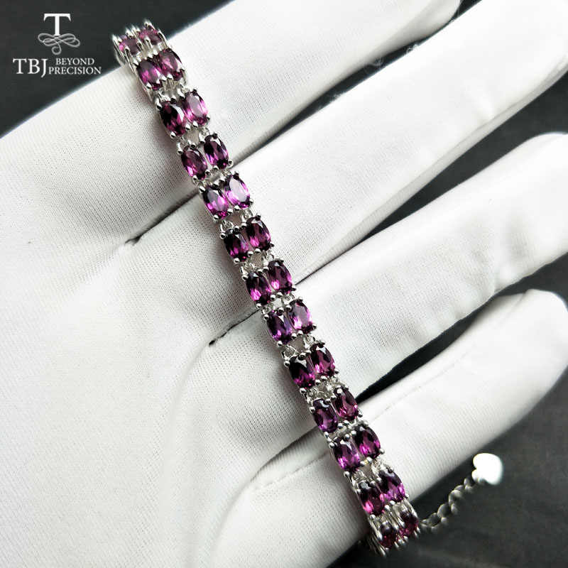 TBJ,simple Natural Brazil 11ct rhodolite Garnet Top quality bracelet in solid 925 silver Jewelry for women luxury fine jewelry