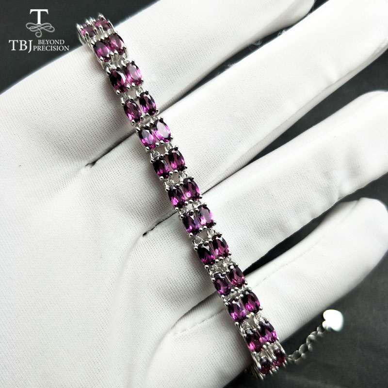 TBJ, simple naturel brésil 11ct rhodolite grenat de haute qualité bracelet en solide 925 bijoux en argent pour les femmes de luxe bijoux fins