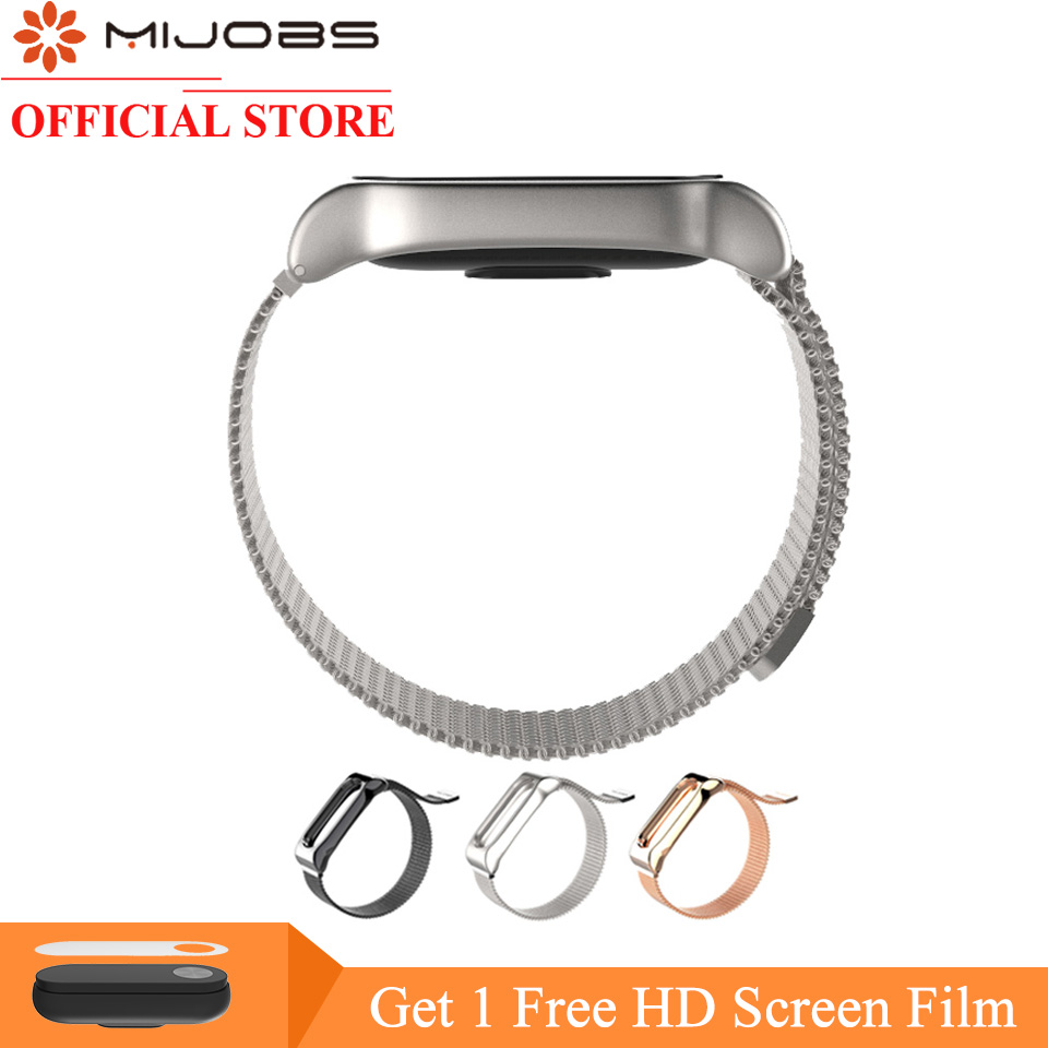 Mijobs For Miband 2 Smart Watch Stainless Steel Milanese Magnetic Loop Strap For Xiaomi Mi Band 2 Replacement Miband 2 Bracelet
