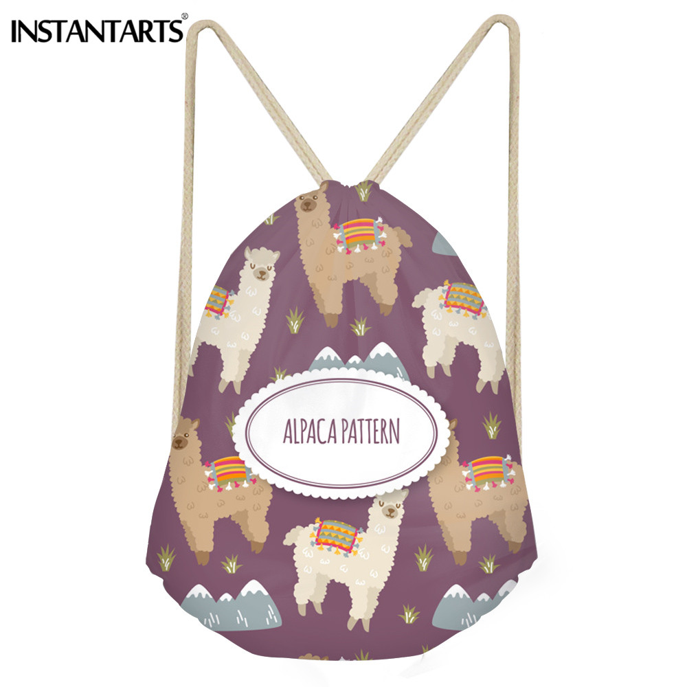 INSTANTARTS Cartoon Alpaca Girl Drawstring Bag 3D Animal Print Women Yoga Shoes String Backpack Fashion Sack Bag For Teenager