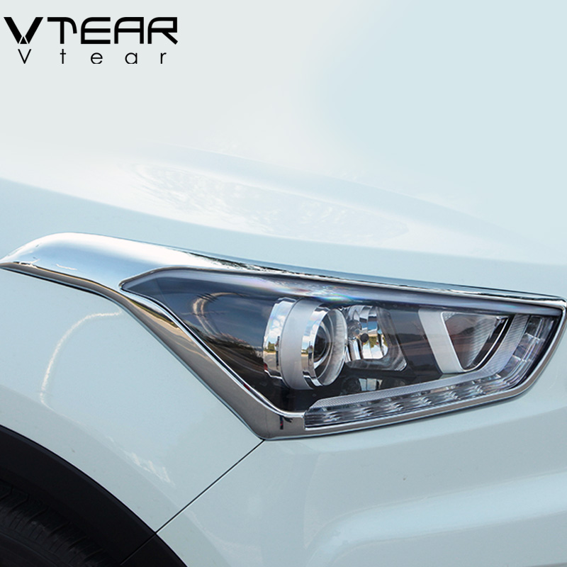 Vtear For Hyundai Creta ix25 Headlights/rearlights cover ABS car Refit Chromium Styling Exterior decoration accessory 2015 2018