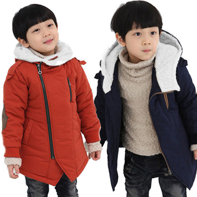 Boy Jackets 2016 Autumn Winter Solid Add Cotton Cashmere Fashion Warm Kids Hooded Coats Outwear Children's Boys Clothing