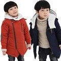 Jaquetas Boy 2016 Outono Inverno Adicionar Algodão Sólida Moda Cashmere Quente das Crianças Com Capuz Casacos Outwear Crianças Roupas Meninos