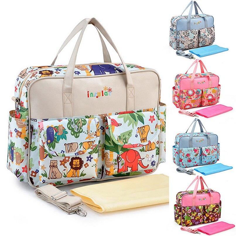 Stylish Diaper Bag Mummy Floral Messenger Bag Multifunctional Large Capacity Nappy Tote Nappy Stroller Straps Bag Play Mats messenger bag