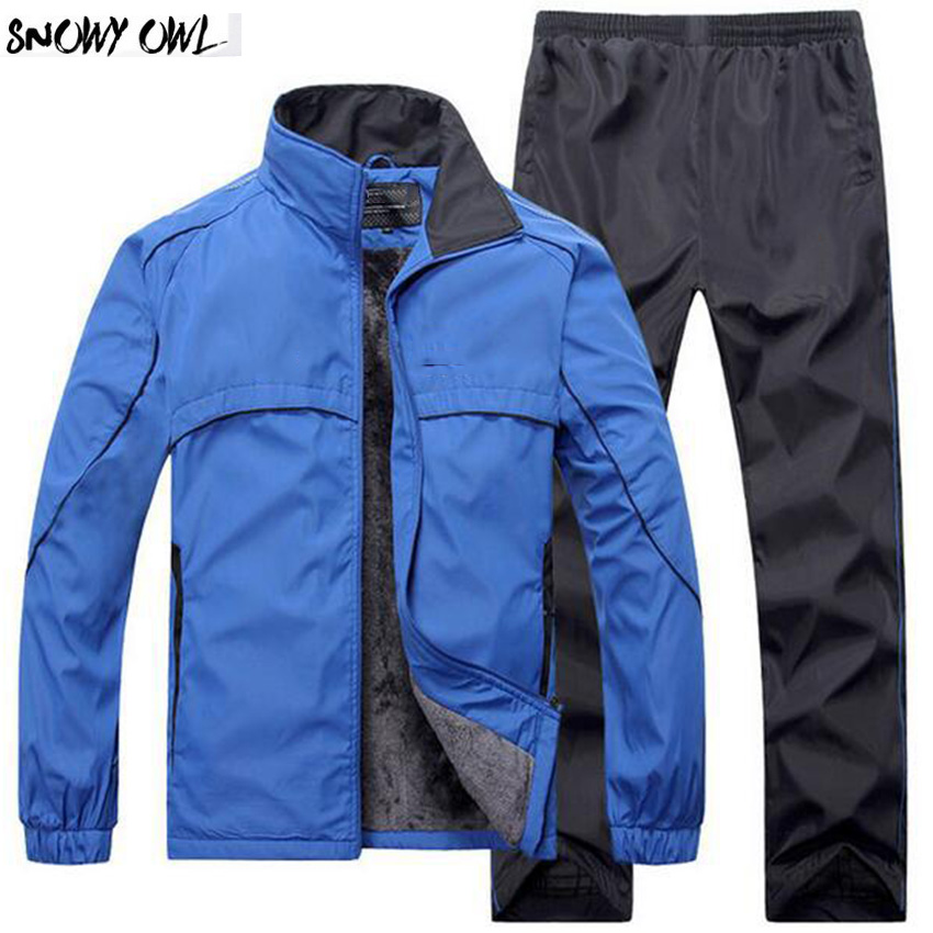 2018 New winter men coat and pants high quality warm plus velvet clothing thickness Jacket sports exerse climbing suit middle aged and old men s suit jacket wool blended winter fashion classic coat pure color warm suit jacket high quality