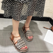 WHOHOLL 2019 New Summer Women Sandals Retro Platform Gladiator buckle Open Toe Boho Beach Shoes Woman Rome