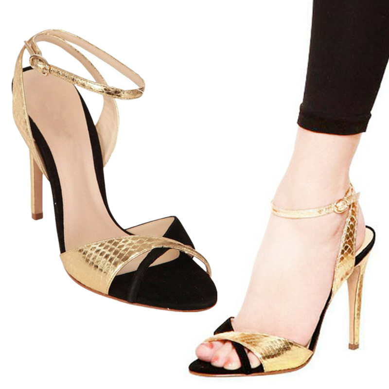 Shoes 2019 Fashion Gold Black Embossed Snake Pattern Leather Sandals Buckle Strap Elegant Stiletto Heel Open Toe Shoes Women Elegant In Smell