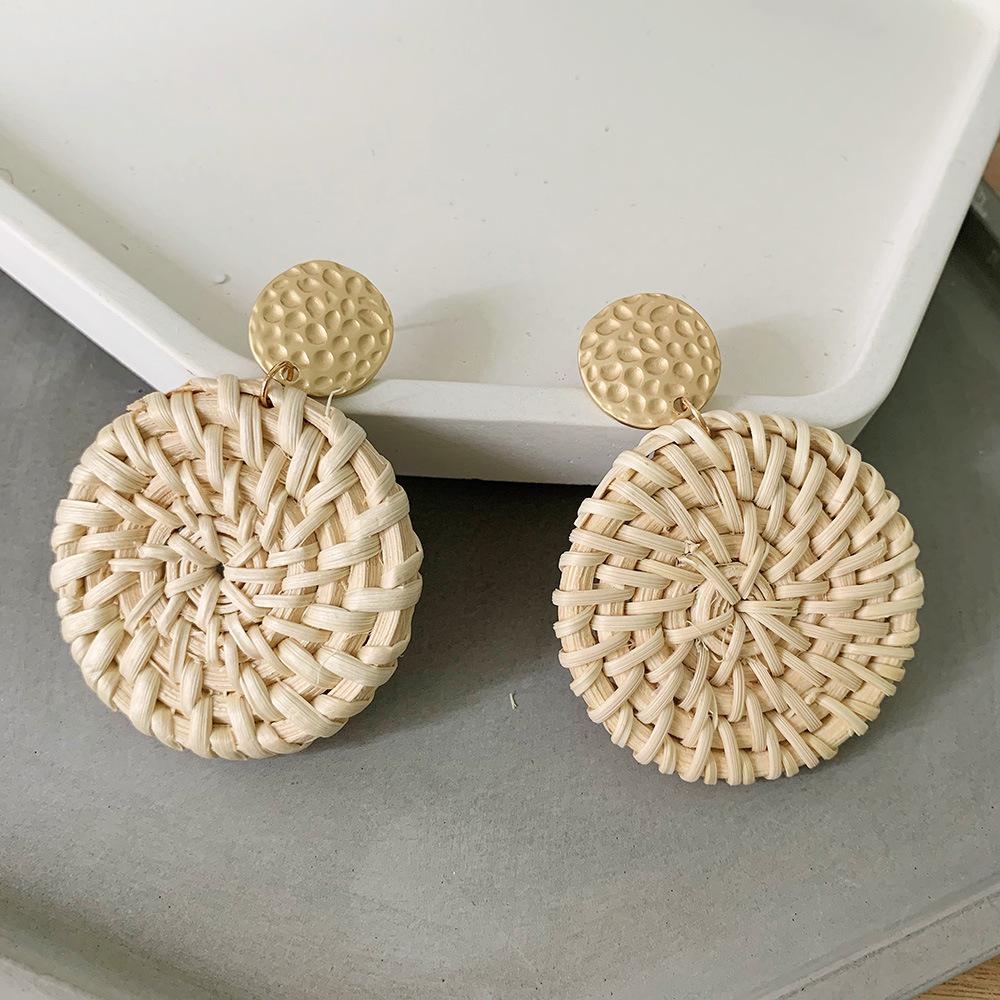 Bohemian Wicker Rattan Knit Pendant Earrings Handmade Wood Vine Weave Geometry Round Statement Long Earrings for Women Jewelry 8
