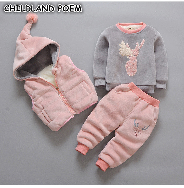 Winter Baby Boys Girls Clothing Set 3pcs Infant Toddler Girl Tracksuit Outfits Warm Baby Clothes Hooded Vest + Sweatshirt + Pant