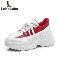 LebaLuka Women Sneakers Genuine Leather Vulcanized Shoes Women White And Red Lace Up Outdoor Fitness Wedges Sneaker Size 34 39