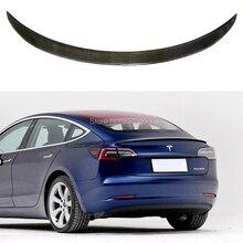 Для Новая Tesla модель 3 автомобильные аксессуары Высокое качество Настоящее углеродного волокна задний багажник спойлер заднего крыла украшения