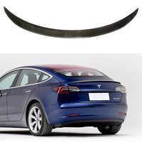 2017 2018 2019 2020 pour nouveau Tesla modèle 3 voiture accessoires haute qualité en Fiber de carbone réel arrière coffre lèvre Spoiler aile décoration