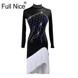 Женские латинские танцы бахрома длинный рукав кисточка кристаллы танцевальный костюм платье
