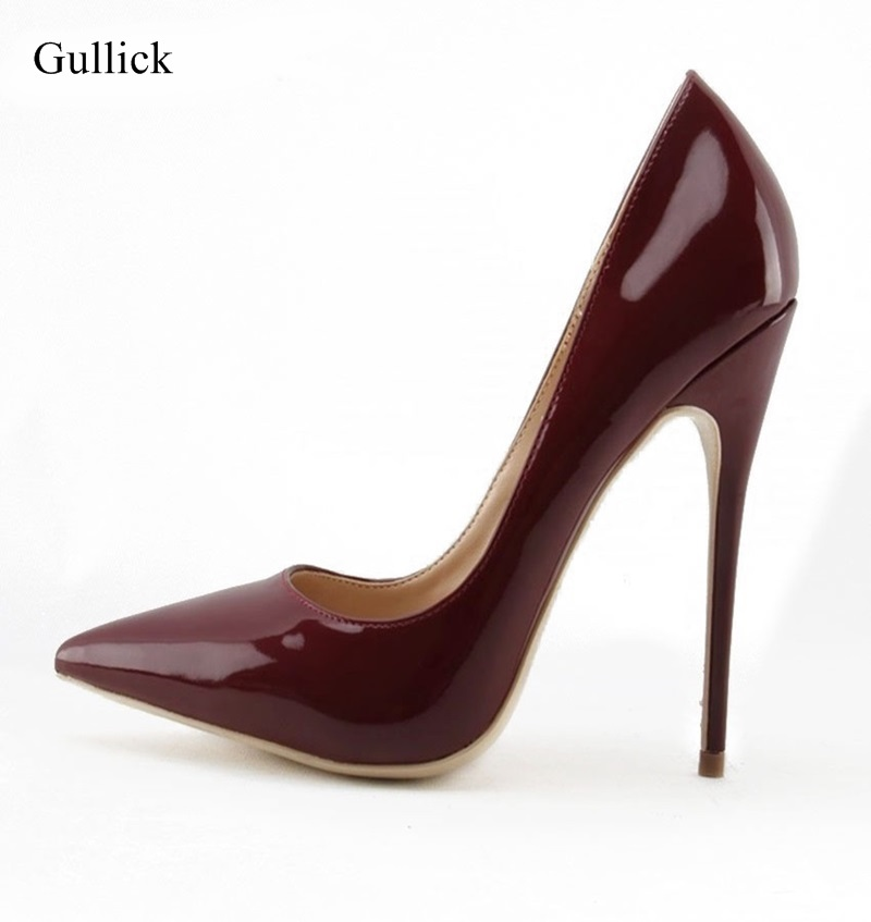Sexy Wine Red Pointy Toe Pumps Chic Thin High Heel Patent Leather Dress Shoes Big Size 10 Slip-on Woman Wedding Shoes Free Ship big size high spike heel platform women pumps peep open toe leopard patent leather party wedding slip on sexy lady thin stiletto
