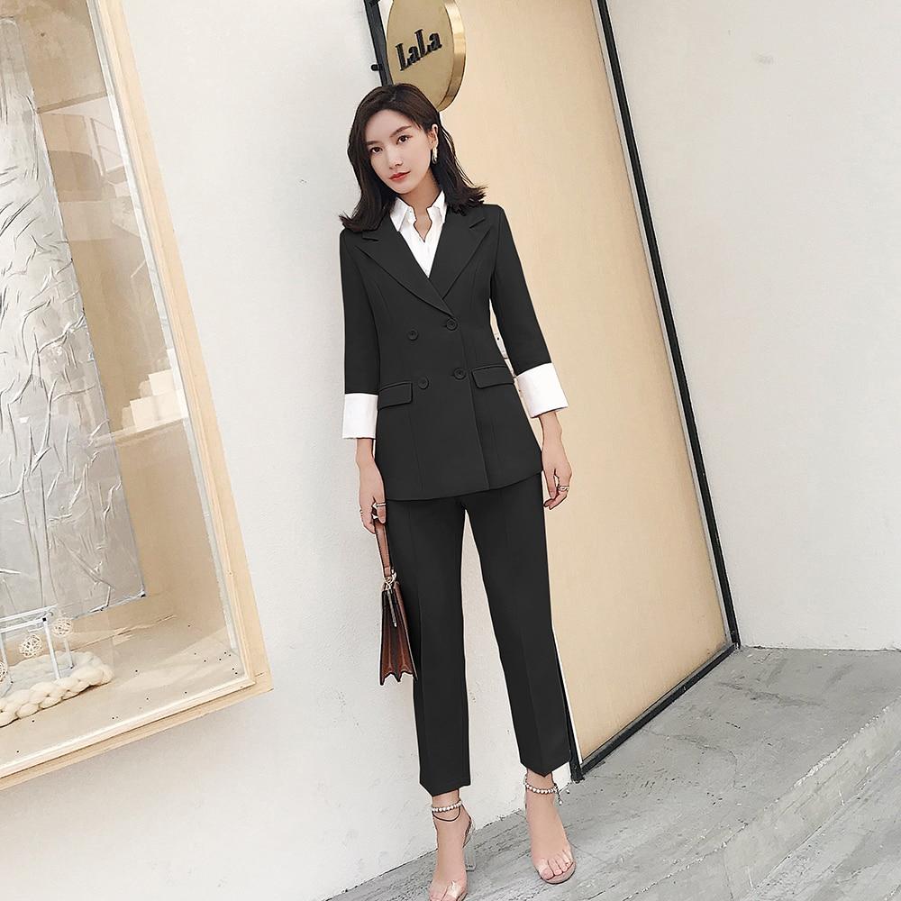 Formelle De Femme Costume rose Bureau Ol Nouveau Mince Femmes Pantalon Féminin Blazer D'affaires Veste Noir Mode Ensemble FESAxvxq