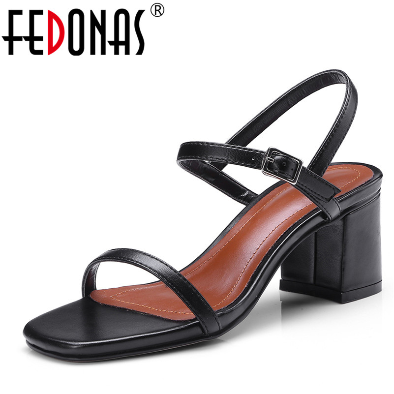 FEDONAS 2020 Fashion High Quality Real Genuine Leather Sandals Gladiator Summer Shoes Woman Ladies Elegant Wedding