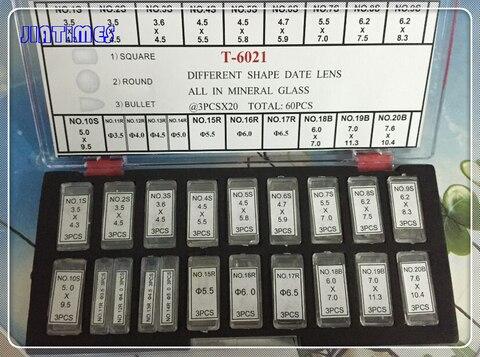 Conjunto de Forma Lente para Data Frete Grátis Diferente Mineral Bolha Lupa Data Janela Relógio Cristais Vidro 1