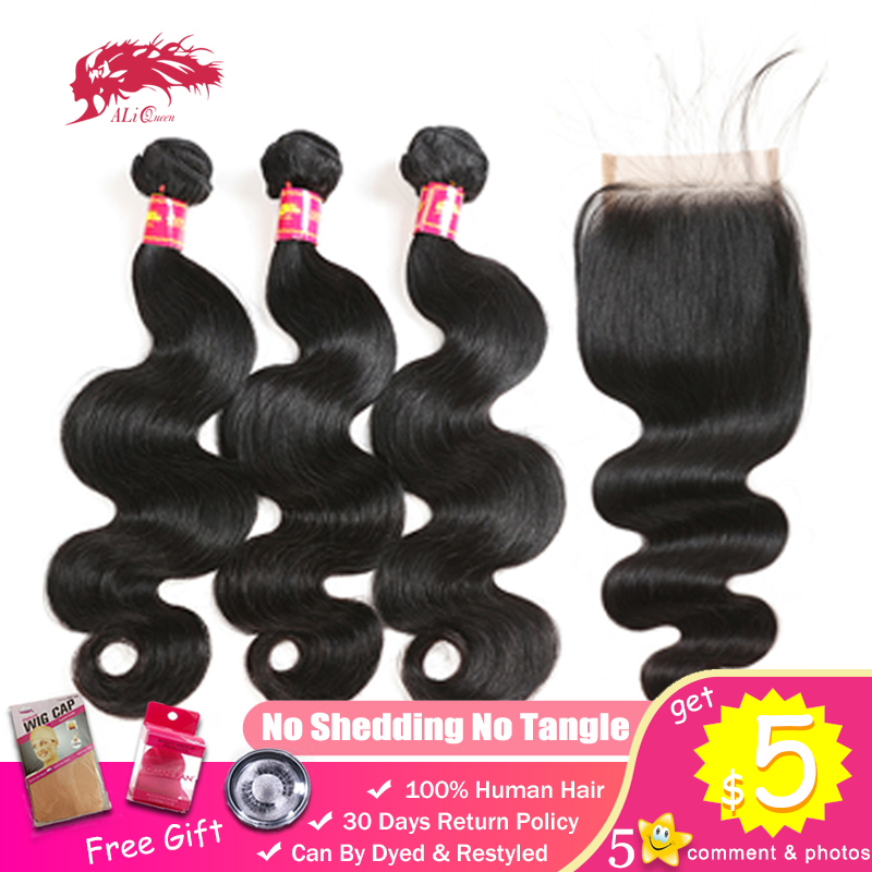 Ali Queen Brazilian Unprocessed Virgin Hair Body Wave 3 Bundles With 4x4 Swiss Lace Closure Free Middle Three Part Natural Color