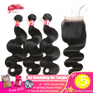 Virgin-Hair Closure Ali-Queen Natural-Color 3-Bundles Unprocessed Brazilian with 4x4