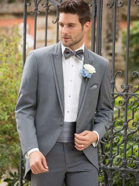 2017 Latest Coat Pant Designs Light Grey Wedding Suits for Men Slim ...