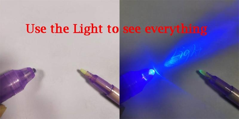 Большая голова световой ручка магия фиолетовый 2 в 1 УФ Черный Свет комбо невидимые чернила перо для рисования обучения образование игрушки для ребенка