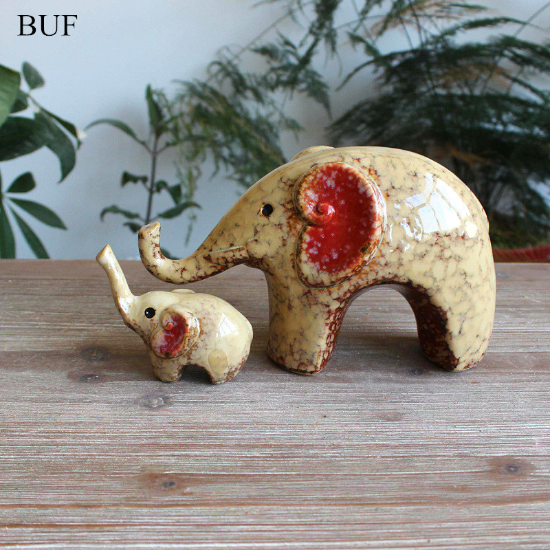 BUF 2Pcs/Set Modern Abstract Elephant Statue Ceramic Ornaments Home Decoration Accessories Gift Geometric Ceramic Sculpture
