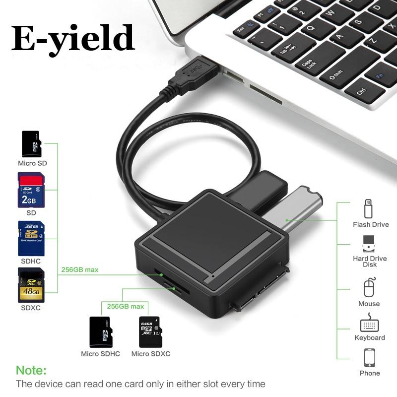 USB3.0 vers SATA Adaptateur TF/SD Lecteur de Carte USB 3.0 Hub 2 Ports Convertisseur 3 EN 1 pour 2.5/3.5 HDD Dur Drive