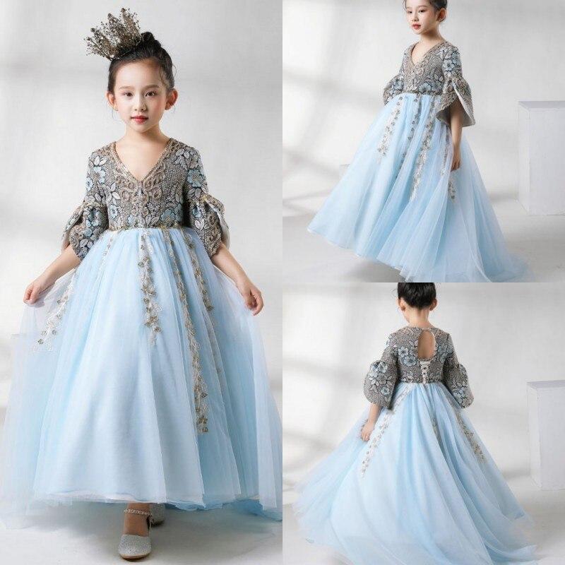 2019 Latest   Flower     Girls     Dresses   V Neck Hollow Back Lace Appliques   Girls   Pageant Gowns Hi-Lo First Communion   Dress   vestidos