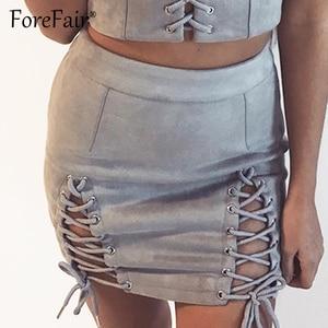 Image 2 - Forefair זמש עור חצאיות נשים 2018 סתיו חורף שחור חצאית נשים בציר גבוה מותניים תחרה עד קו מיני חצאית