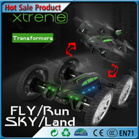 New Design High Speed RC 4WD Car with Cam Off road Flying Car 2.4G Remote Control helicopter Air Road Double Mobel