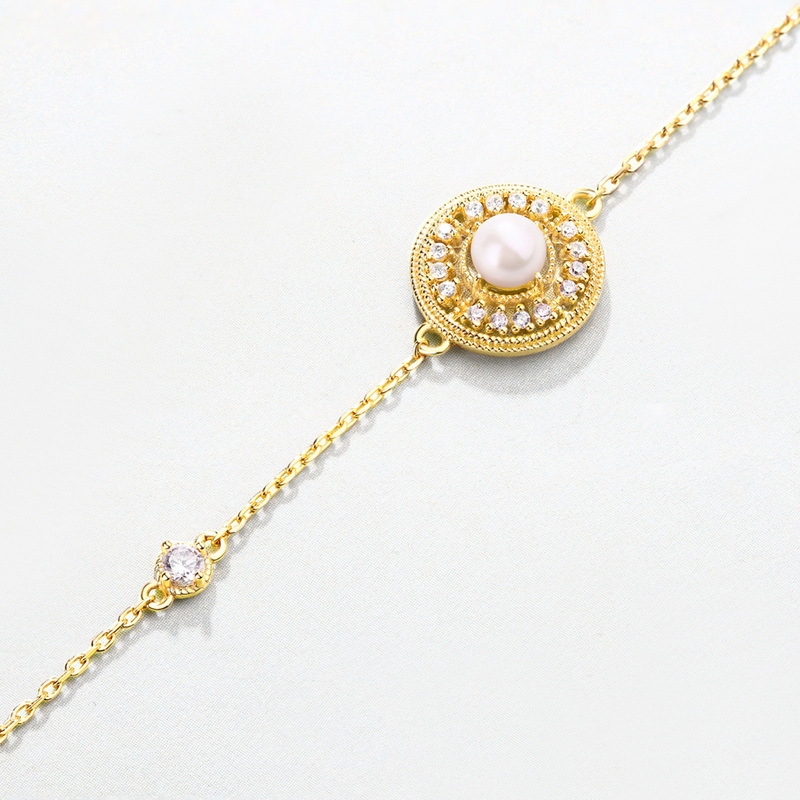 Браслет из серебра S925 пробы с натуральным пресноводного жемчуга, ювелирные браслеты аксессуары, Браслет безделушка для женщин