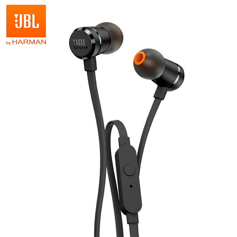JBL T290 3 5mm Wired Earphones Stereo Music Sports Pure Bass Headset 1-Button Remote Hands-free Call with Mic for Smartphones