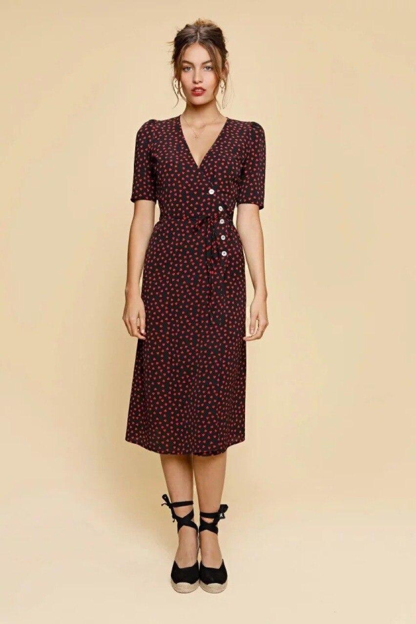 Vestido de verano para mujer de estilo nuevo traje largo estampado 2019 para mujer ropa de descanso de té para mujer de manga corta B-in Vestidos from Ropa de mujer    2