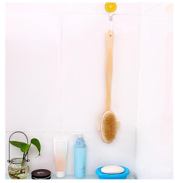 Bathroom Body Brushes Long Handle Bath Natural Bristles Brushes Exfoliating Massager With Wooden Handle Dry Brushing Shower Tool 6