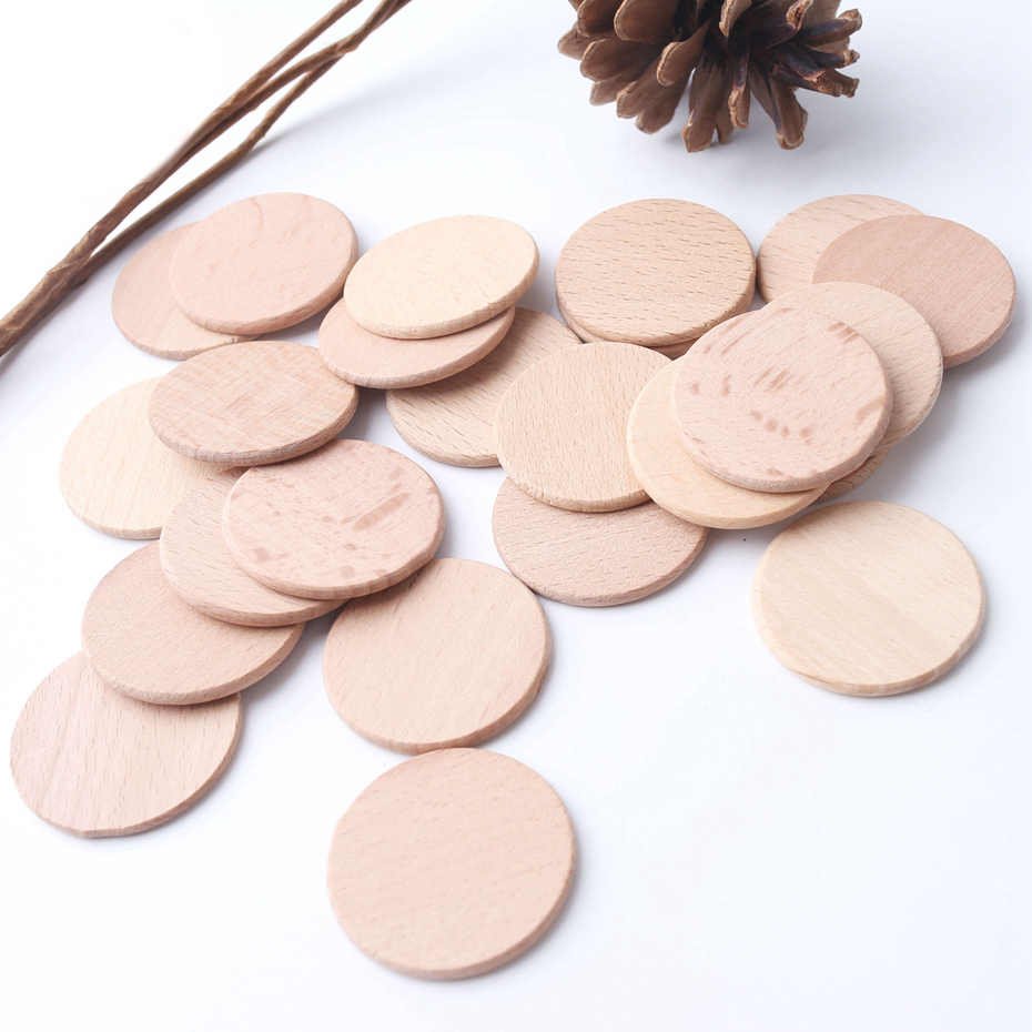 10PC 37mm Baby Wooden Teether Unfinished Beech Wooden Coins Rodent Bite Chew Slices Beads Baby Teething For Children's Goods Toy