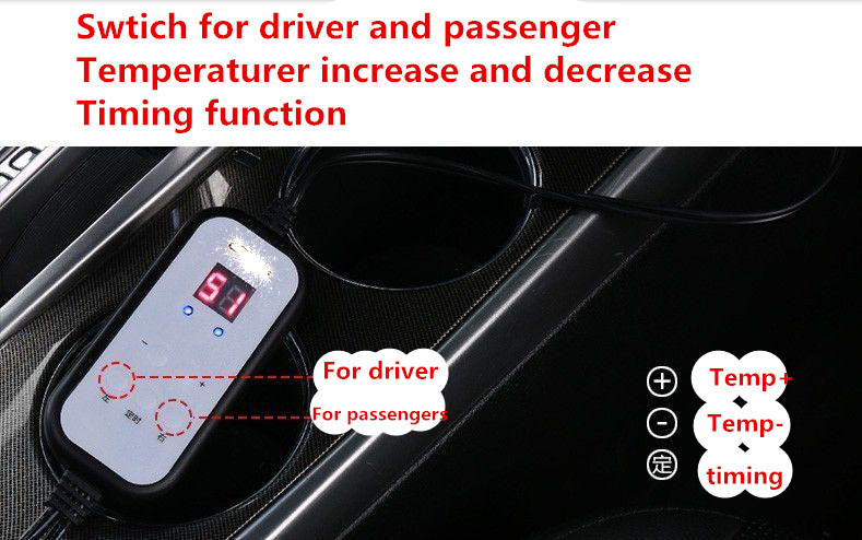 Automobile Electric Heating Pad Blanket Plug In Cigarette Lighter Car Seat Micro Computer Digital Temperature Display