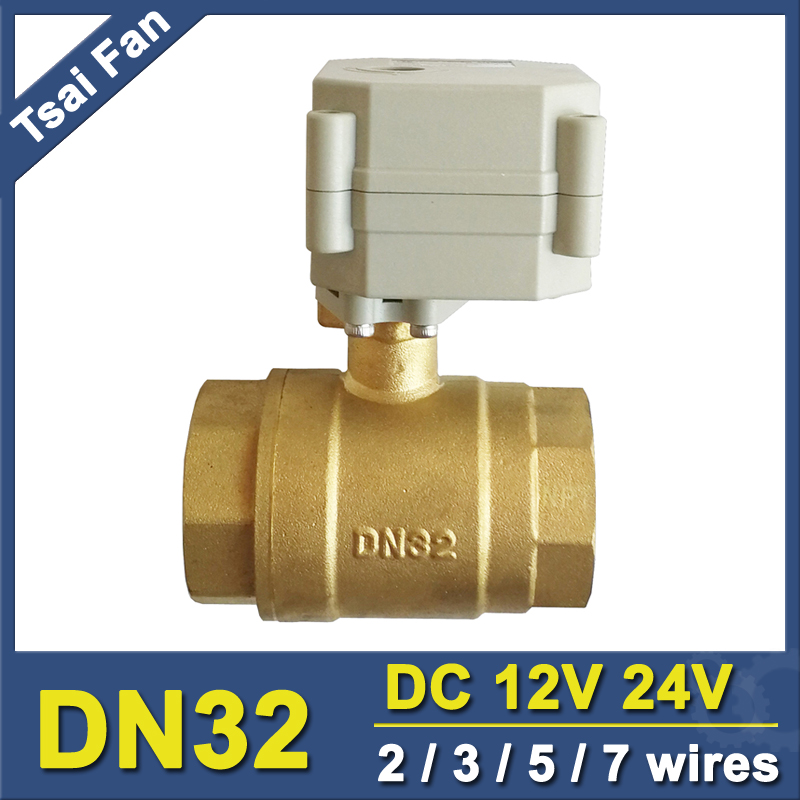 2 3 5 7 Wires Electric Actuated Valve 2 Way 1 1 4 DN32 Brass Electric