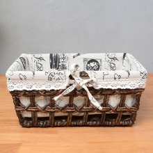 Corn husk straw basket storage large rattan woven romantic Tower fabric boxes table sundries baskets steel frame