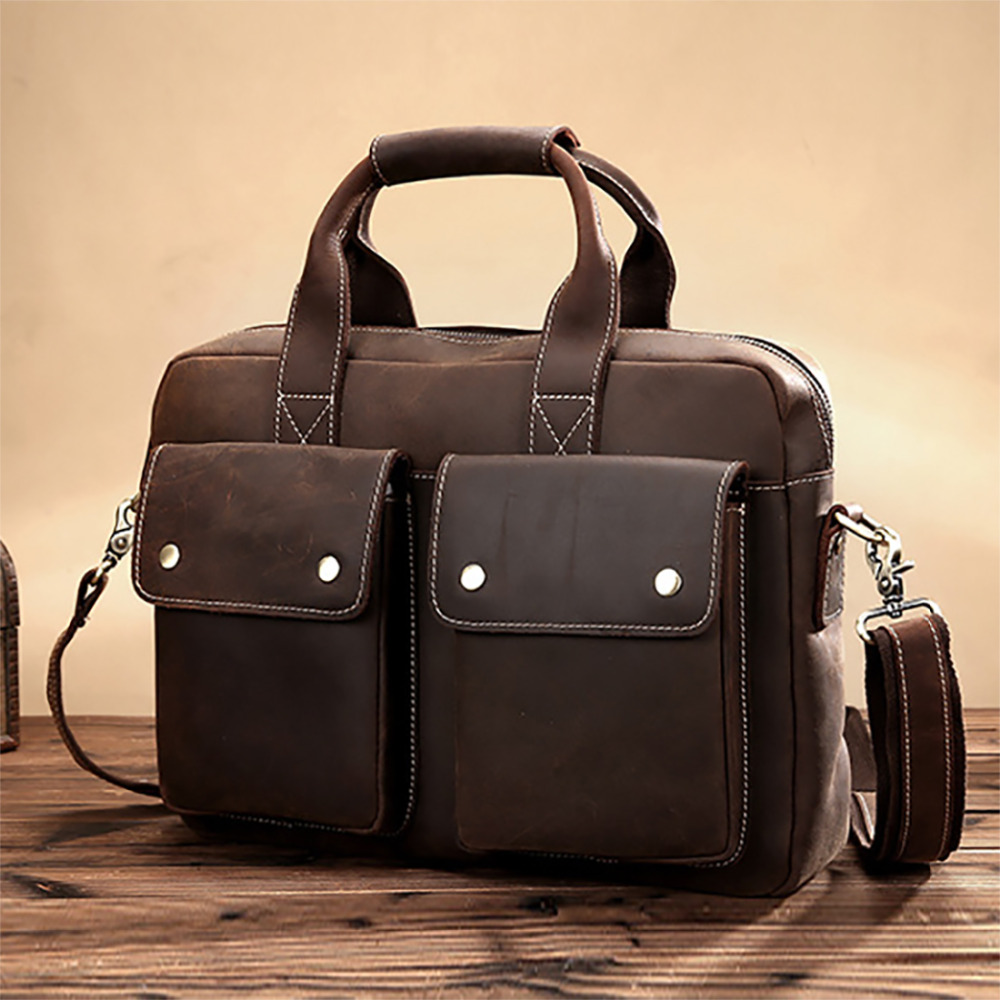 Top Quality Crazy Horse Cowhide Messenger Shoulder Bag Men Vintage Cross Body Bags Casual Genuine Leather Business Tote Handbag hot selling crazy horse leather man bag vintage casual first layer of cowhide handbag one shoulder cross body computer bag 0201