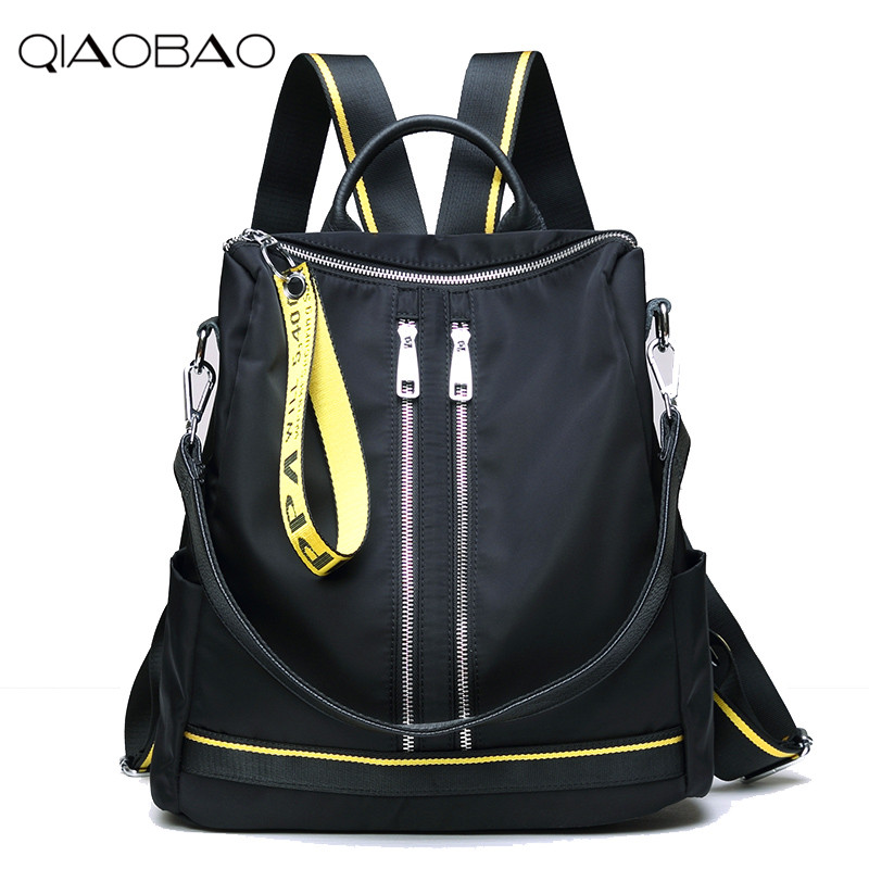 QIAOBAO 2017 Newest leather backpack large capacity Oxford travel backpack head layer cowhide backpack shoulder shoulder