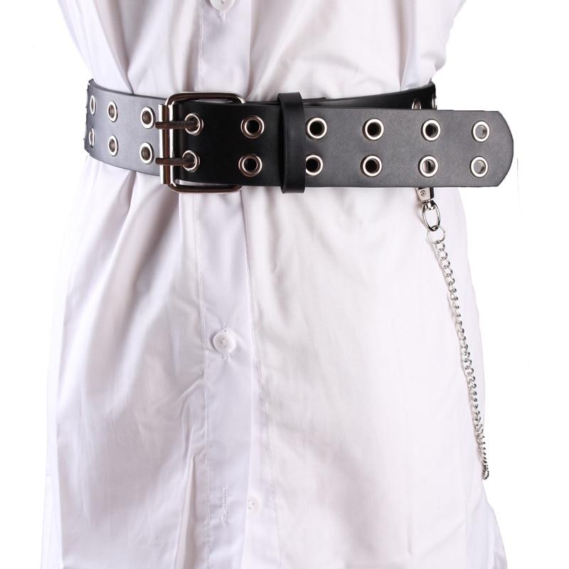 Модные черные ремни с двойной пряжкой, кожзам, завязанный пояс, пояс с заклепками, цепочка с заклепками, Панк Повседневный ремень, двухслойный джинсовый ремень - Color: two layer black belt