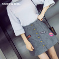 Winter Autumn Fashion Vintage The Badge Women's High Waist Package Midi Skirt Lady Women Embroidered A-Line Skirt B6N5154Y