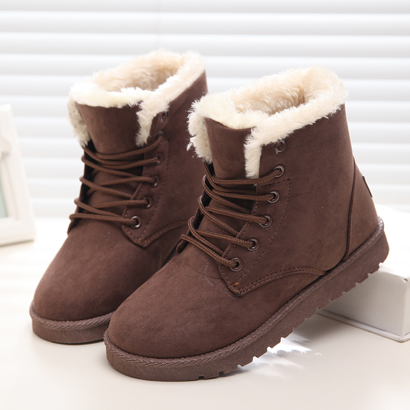New Warm Winter Boots For Women Ankle Boots Snow Girls Boots Female Shoes Suede with Plush Insole Botas Mujer 2017 new fashion women winter boots classic suede ankle snow boots female warm fur plush insole high quality botas mujer lace up