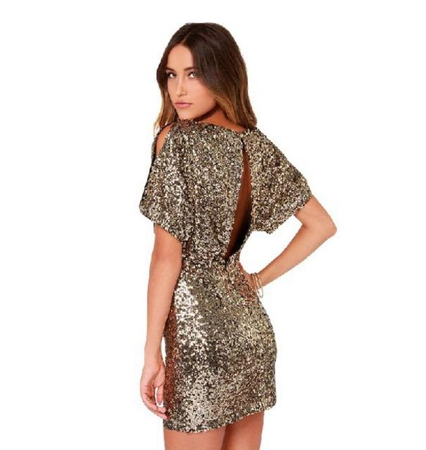 Summer Short Sequin Bodycon Dress 2018 Mini Sexy Ladies Backless Gold For Women  Clothing Paillette Night Club Party Pencil Dress 80643d91107e