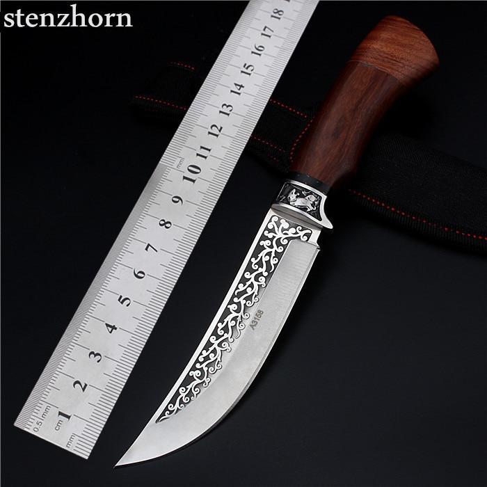 ФОТО Stenzhorn 2017 New Wood Self-defense Field High Hardness Saber Wilderness Survival Fruit Knife Small Straight Folding Engraving