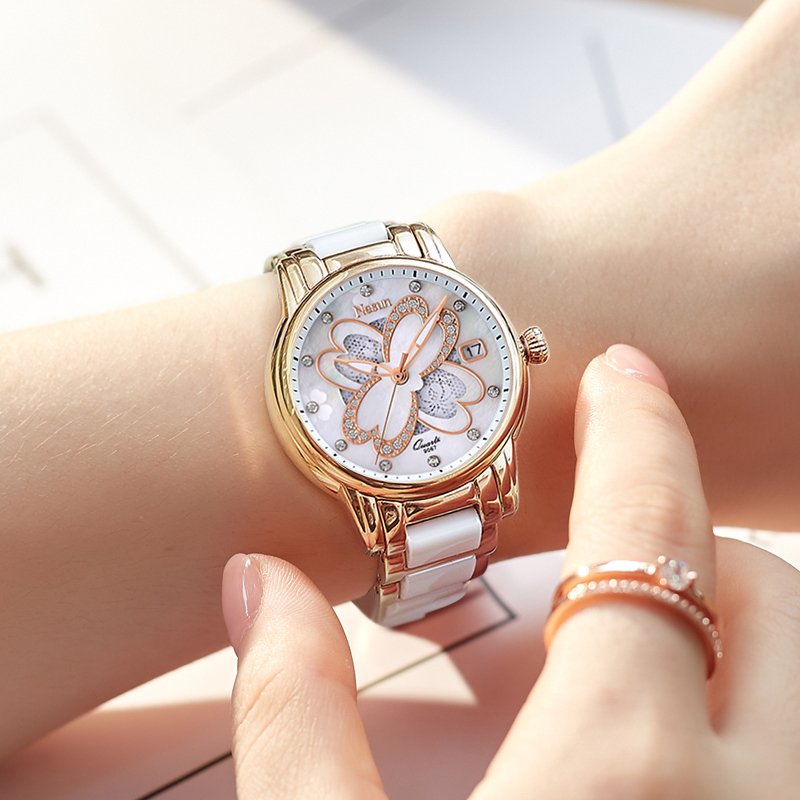 Nesun Creative Elegant Women Quartz Watches Waterproof Luxury Brand Classic Diamond Analog Wristwatches Clock Relogio Feminino
