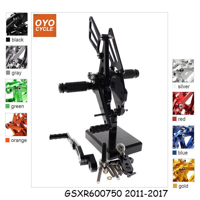 CNC Adjustable Rearsets Foot Rest Foot Pegs Foot Rests For Suzuki GSXR600 GSXR750 2011 2017 GSXR 600 750 2013 2014 2015 2016