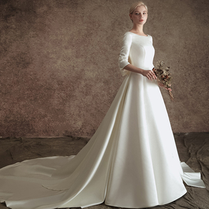 Image 5 - New A line Satin Modest Wedding Dresses With 3/4 Sleeves O Neck V Back Vintage Modest Bridal Gowns Wth Detachable Train